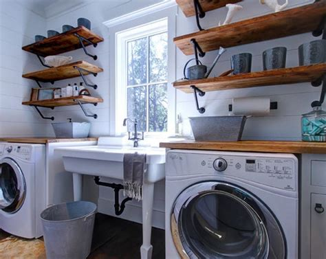 Diy Laundry Room Decor Using Wooden Shelves And Vintage Diy Laundry Room Decor