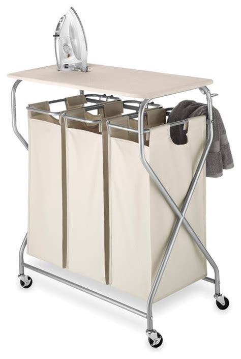 laundry with ironing board 3 bag laundry center with ironing table contemporary