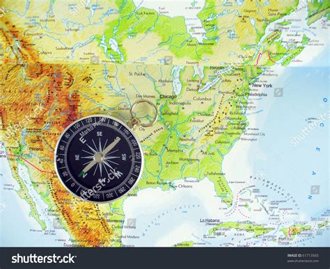 map of usa with compass compass on map usa stock photo 61713565