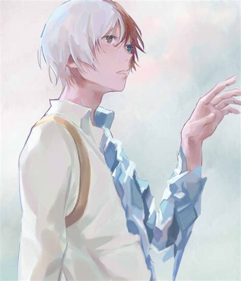 Kaos Anime Boku No Academia White 480x800 todoroki shouto profile view boku no academia wallpapers for galaxy s2