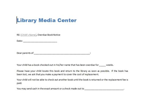 Damaged and Overdue Book Letters   Library Lesson Plans