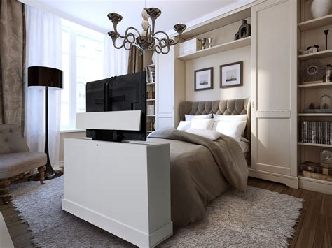 Bedroom Tv Furniture Azura White Finish Foot Of The Bed Lifts This Unit Is A 360 Swivel So You Can Tv In Bed