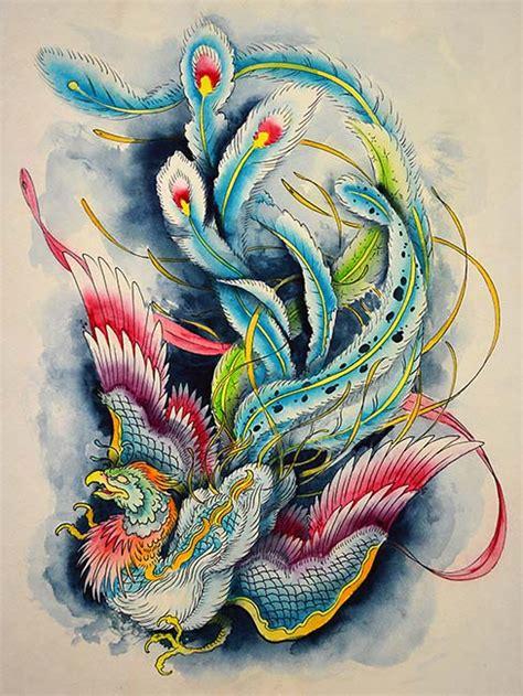tattoo oriental phoenix hou ou firebird by clark north watercolor oriental phoenix