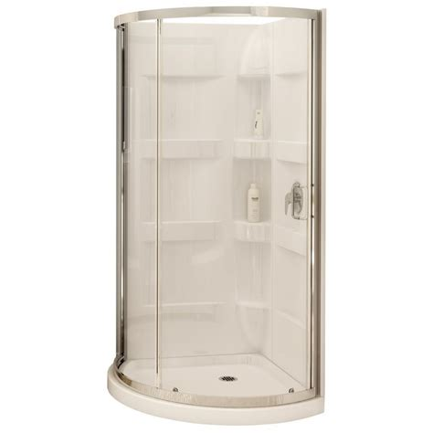 Corner Shower Units For Small Bathrooms Maax 80 In H X 34 In W X 34 In L White 3 Corner Shower Kit At Lowe S Canada Home