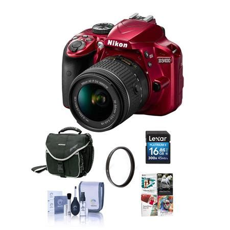nikon d3400 dslr with 18 55mm dx vr lens, red and free pc