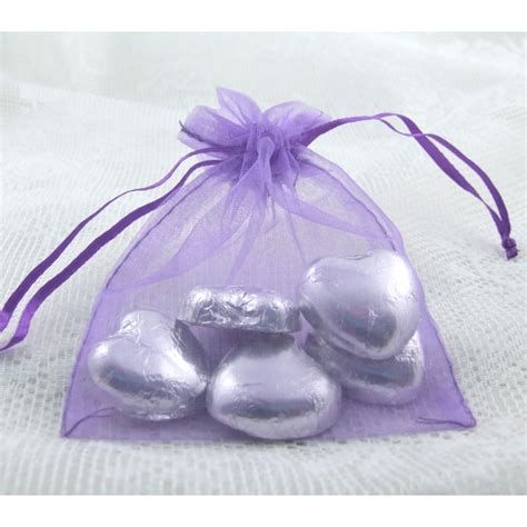 medium purple organza bags with ribbon tie 12x9cm