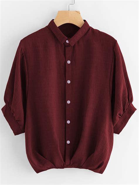 Lantern Sleeve Shirt lantern sleeve pleated detail shirt shein sheinside