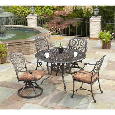 home depot patio dining sets home styles biscayne black 7 swivel patio dining set