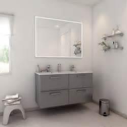 meuble de salle de bains plus de 120 gris argent neo