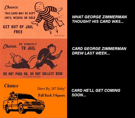 George Zimmerman Meme - george zimmerman meme monopoly chance card history lol