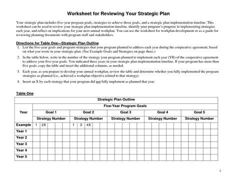 Strategic Planning Worksheet by 19 Best Images Of Strategic Goals Worksheet Smart Goal