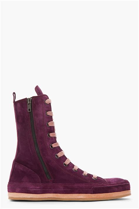 mens purple suede boots demeulemeester purple suede boots in purple for