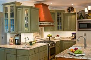 Green Kitchen Cabinet Backsplash With Green Cabinets Monsterlune