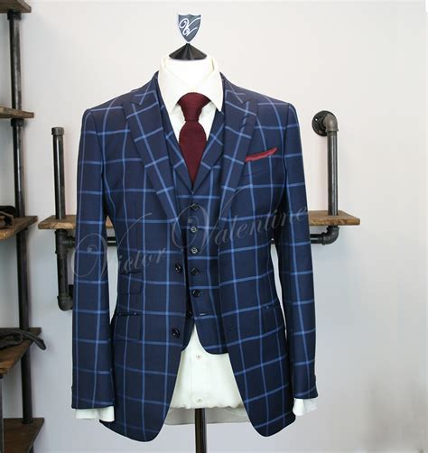 Square Suit navy square check 3 suit for sale from victor