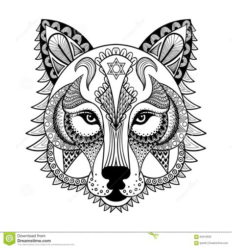 anti stress coloring book animals vector ornamental wolf ethnic zentangled mascot amulet