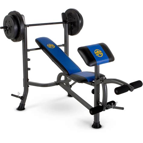 marcy bench press set marcy standard bench w 80lb weight set mwb 36780b