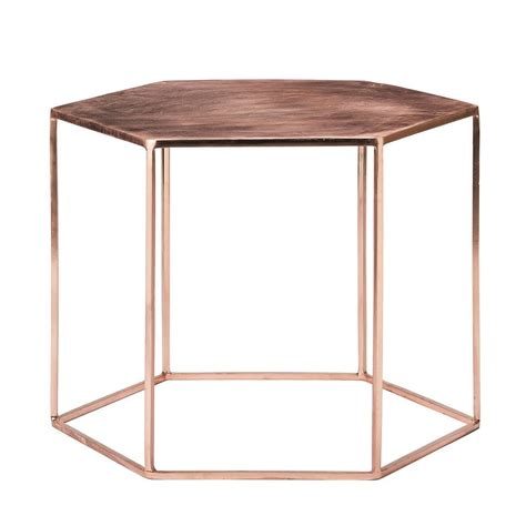 Copper Tables by Copper Plated Hexagonal Coffee Table By Out There