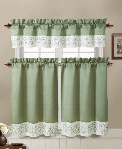 sage green and ivory embroidered kitchen window curtain