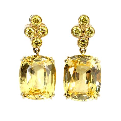 gold yellow sapphire and yellow earrings at 1stdibs