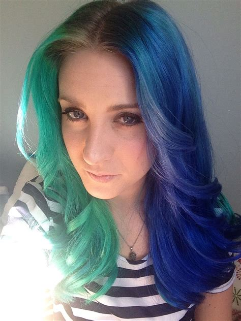 half colored hair half green half blue dyed hair color dyed hair