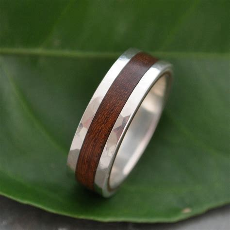 hammered lados nacascolo wood ring recycled sterling silver