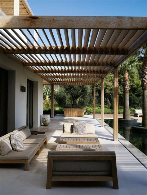 modern patio design backyard paio with wooden furniture and sunspot at