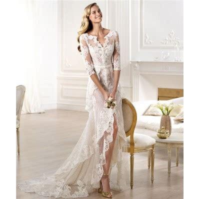 30708 White Informal V Neck Dress Dress Kode Vc6136 1 informal sheath v neck high low front slit lace wedding dress with sleeve