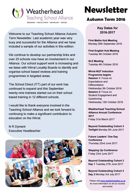 Weatherhead Teaching School Alliance Newsletter By Weatherhead High School Issuu Sle Newsletter Templates For Teachers