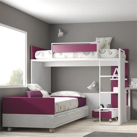 Corner Bunk Beds For Kids With Modern Girl's Corner Bunk