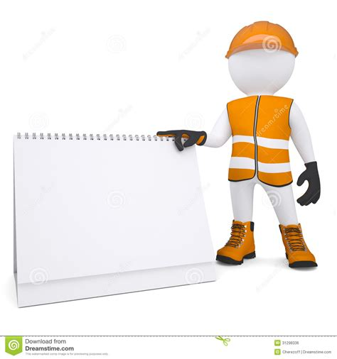 Calendar Render 3d White In Overalls Holding A Calendar Royalty Free