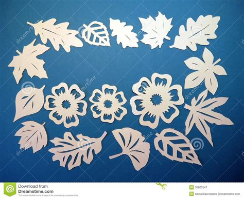 paper flower cutting pattern white leaves and flowers pattern paper cutting royalty