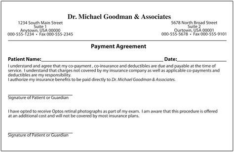 Patient Payment Agreement Letter Keskes Printing Optometrists