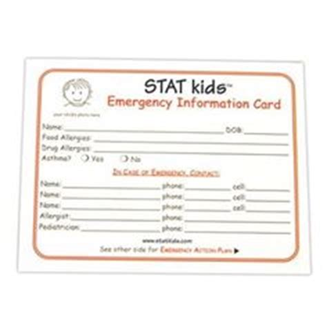 child emergency information card template free psd template emergency contact list for