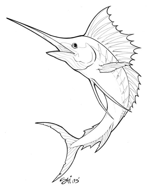 marlin fish coloring pages tattoo design marlin by artbysai on deviantart
