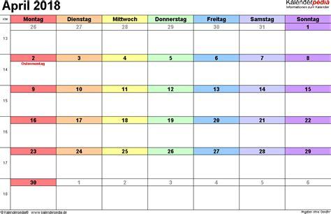 Kalender 2018 April Mai Kalender April 2018 Als Excel Vorlagen