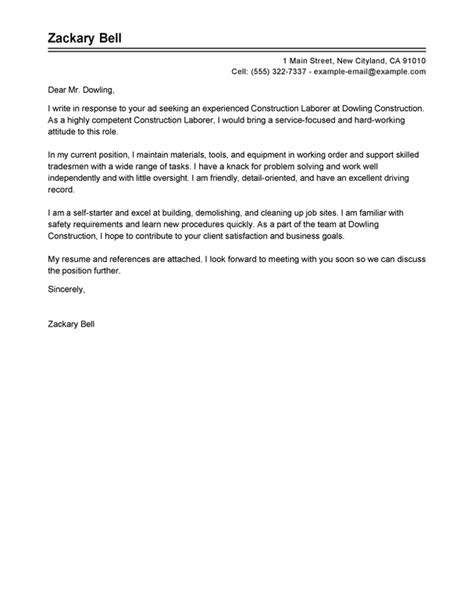Basic Construction Cover Letter Construction Cover Letter Exles Livecareer