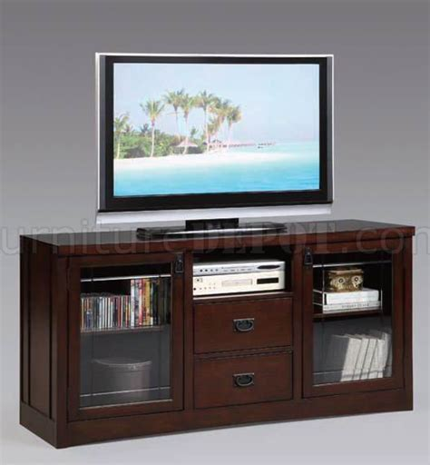 Tv Stand With Glass Doors by Espresso Finish Modern Tv Stand W Glass Doors