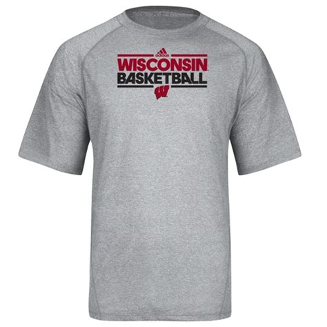 T Shirt Adidas Basketball wisconsin adidas basketball grey practice t shirt
