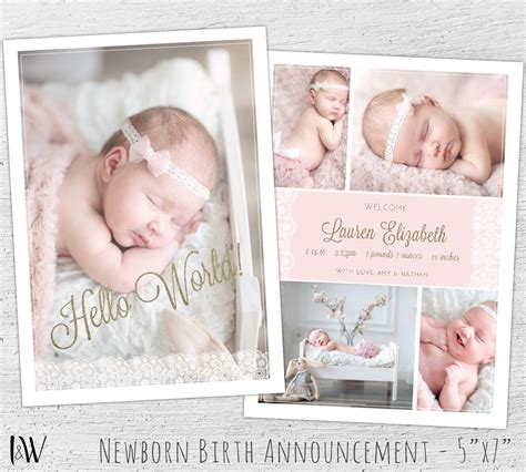 photoshop templates for birth announcements newborn announcement template photoshop template new baby