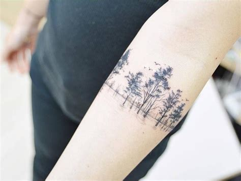 scar tattoo cover scar cover tree on the right inner forearm
