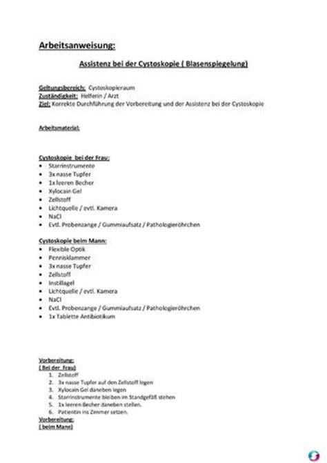 Word Vorlage Arbeitsanweisung Arbeitsanweisung Assistenz Bei Der Cystoskopie