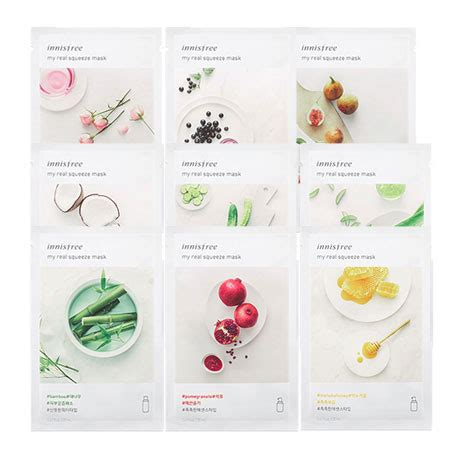 Innisfree Real Mask set 18 loại mặt nạ innisfree my real squeeze mask jeju