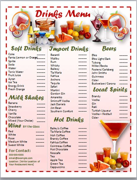 beverage menu template 5 drink menu template procedure template sle