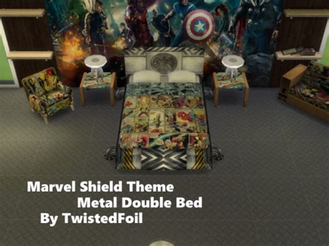marvel shield themed bed  twistedfoil sims  updates