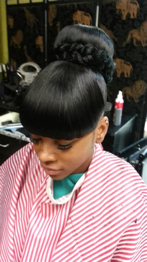 how to do a weave bun with bangs bun bang bang quick weave youtube