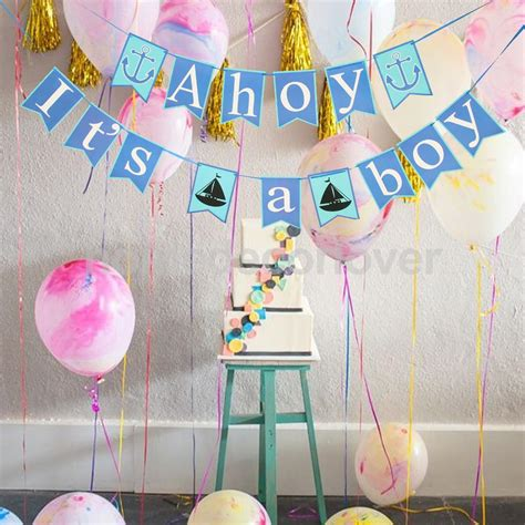 Handmade Baby Shower Banners - ahoy it s a boy nautical anchor hanging banner baby shower