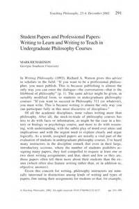 Teaching Essay by Student Papers And Professional Papers Writing To Learn And Writing To Teach In Undergraduate
