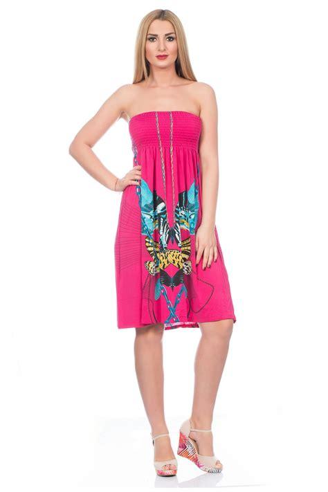 womens holidays womens bright summer flowing short dress bandeau strapless