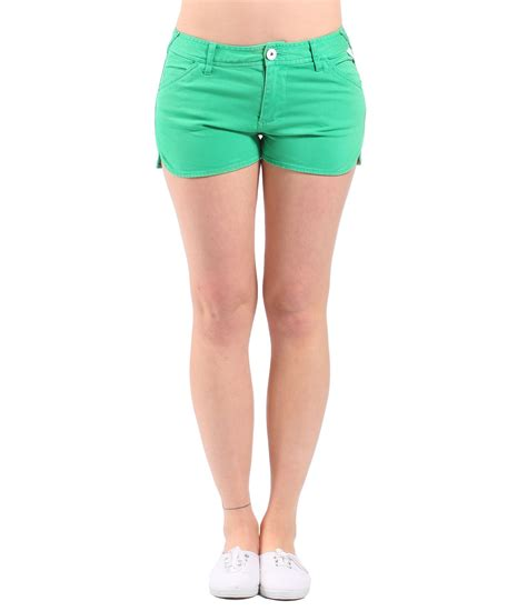 bench shorts mens bench womens good legs denim shorts in green lyst