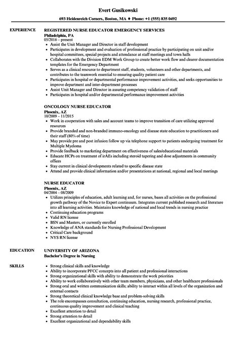 excellent sle resume for nurse educator images